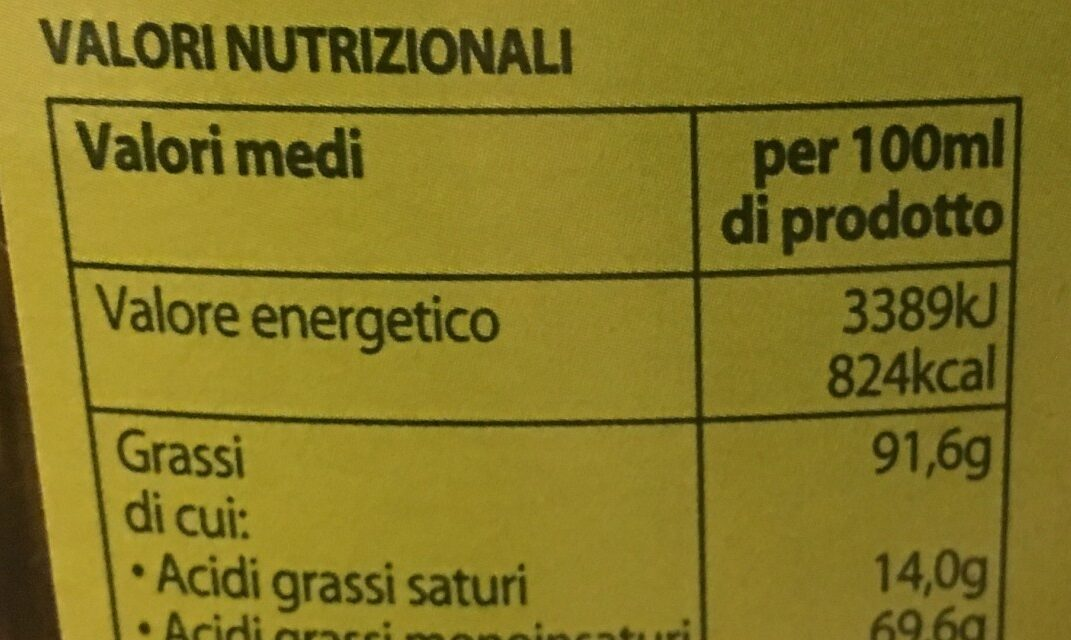 Olio extra vergine di oliva - Voedigswaarden
