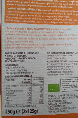 Tofu al naturale - Ingredientes