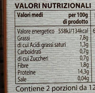 Tofu al naturale - Valori nutrizionali - it
