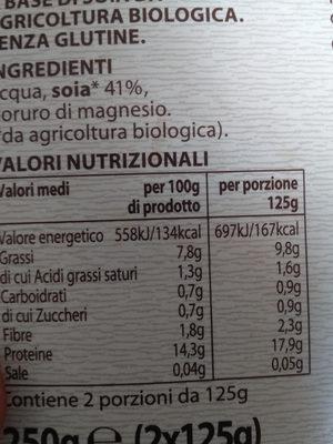 Tofu al naturale - Información nutricional