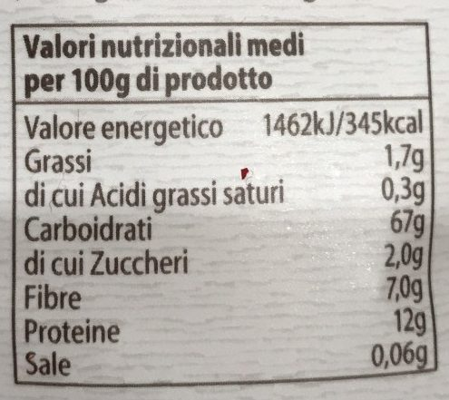 Rigatoni integrali - Informations nutritionnelles - it