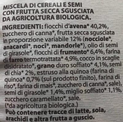 Granola con frutta secca - Ingredients - it