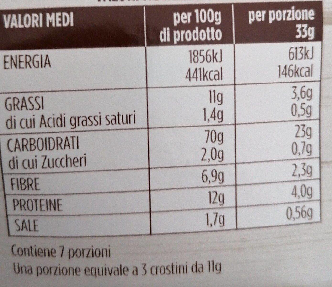 Crostini con farina integrale - Informations nutritionnelles - fr