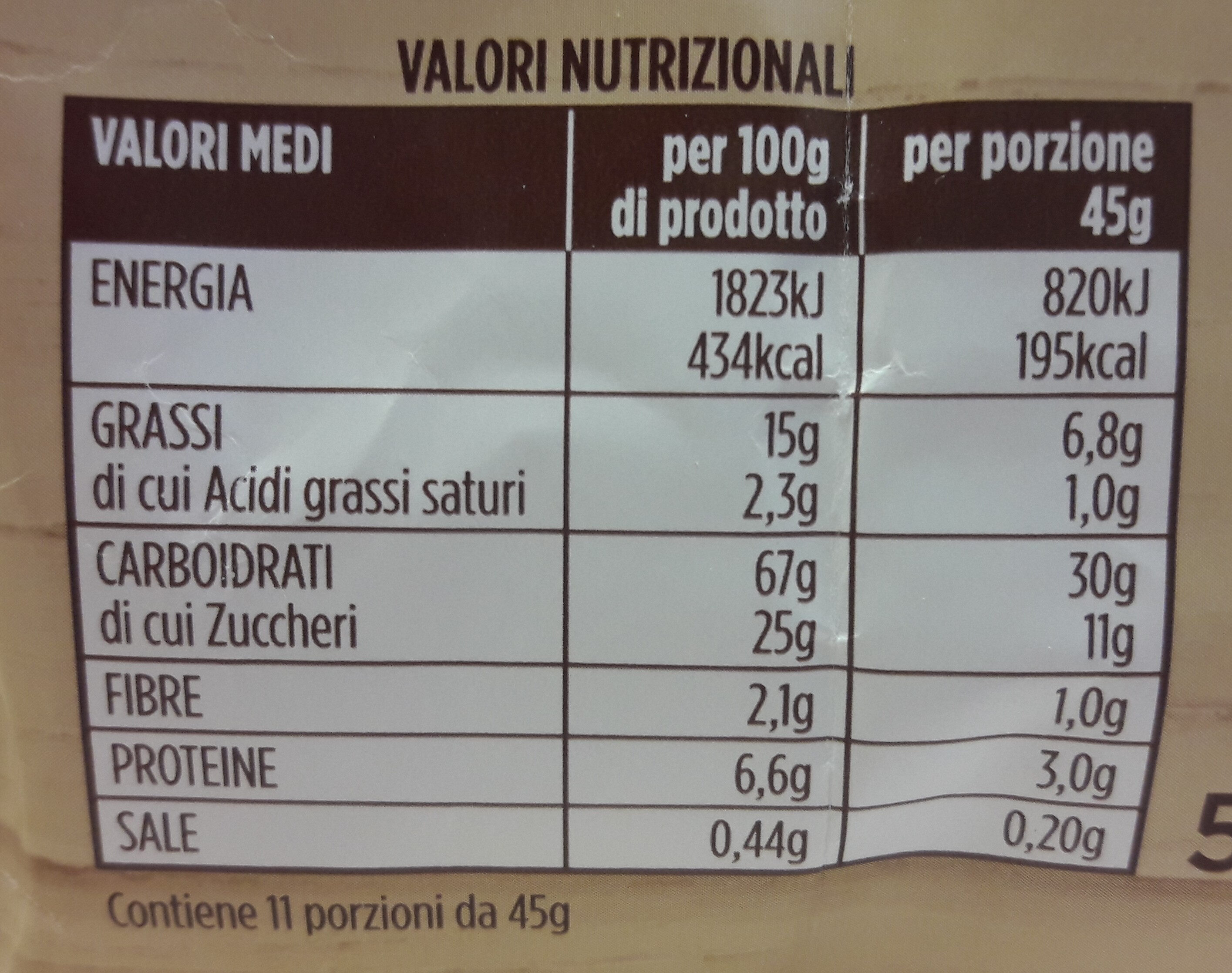 I RUSTICI con zucchero di canna - Nutrition facts