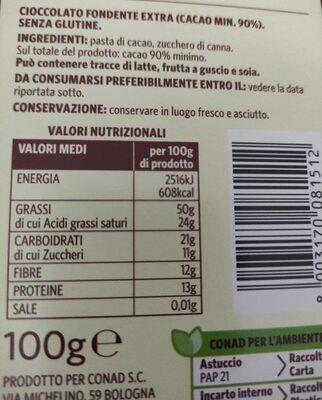 Fondente extra - Informazioni nutrizionali - it