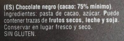 Fondente dark 75% - Ingredientes - es