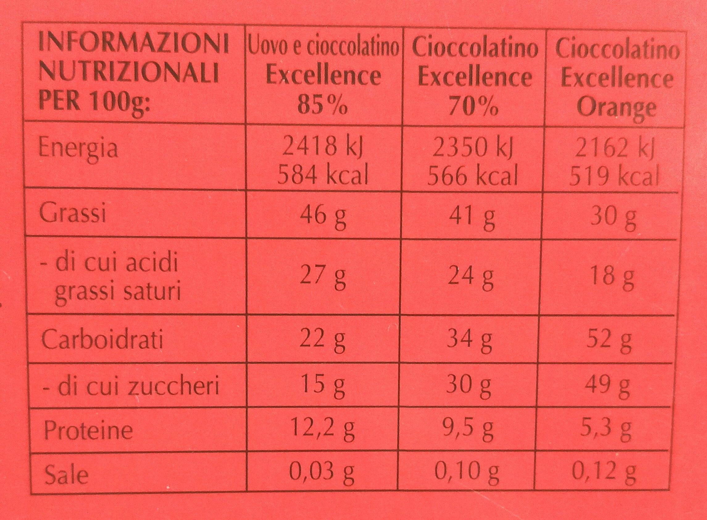 Lindt excellence uovo di Pasqua 85% cacao - Valori nutrizionali - it