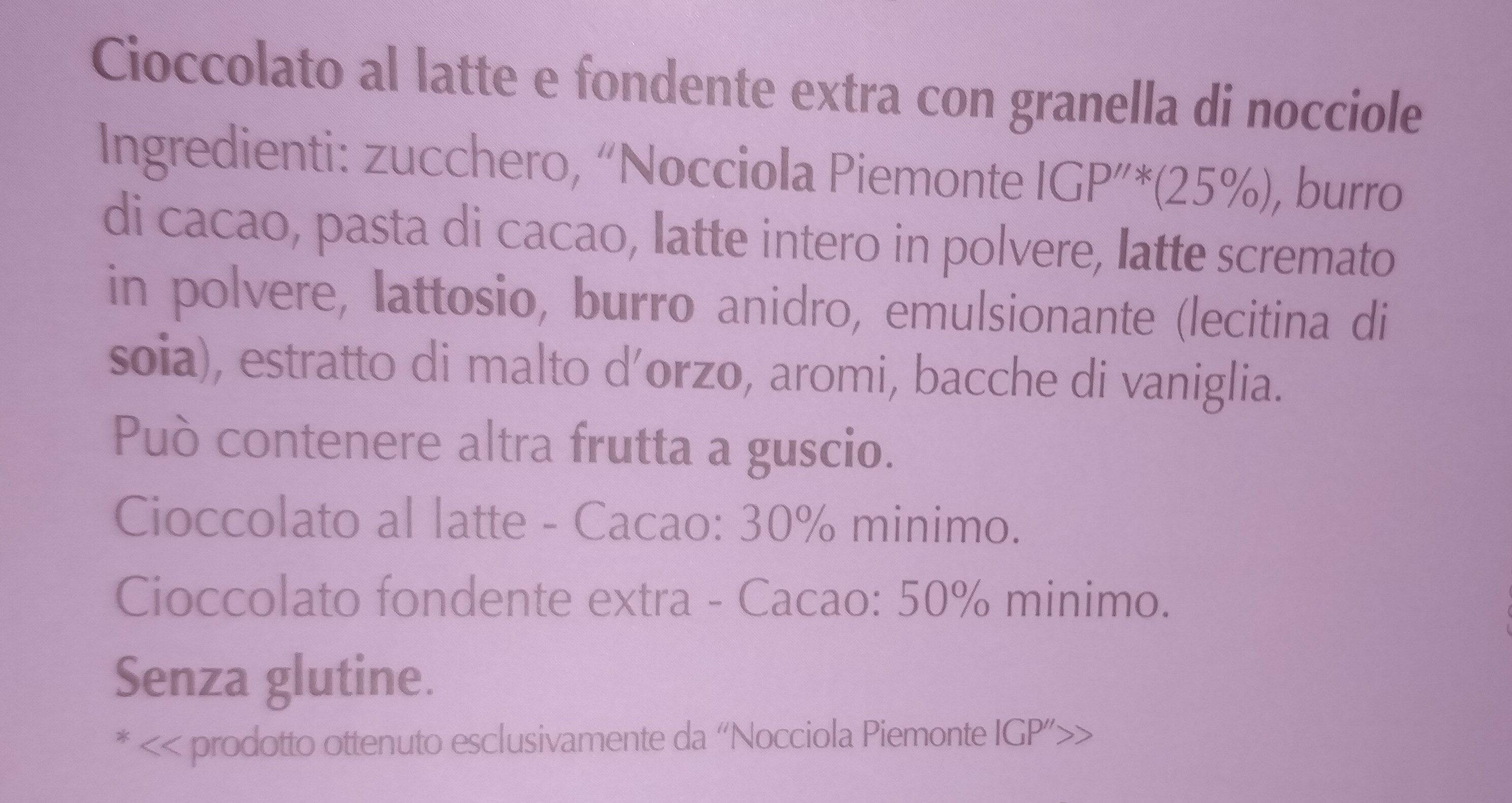 Noccior bigusto latte fondente - Ingredienti - it