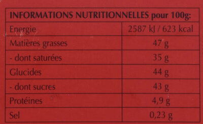 Lindor - Voedingswaarden - fr