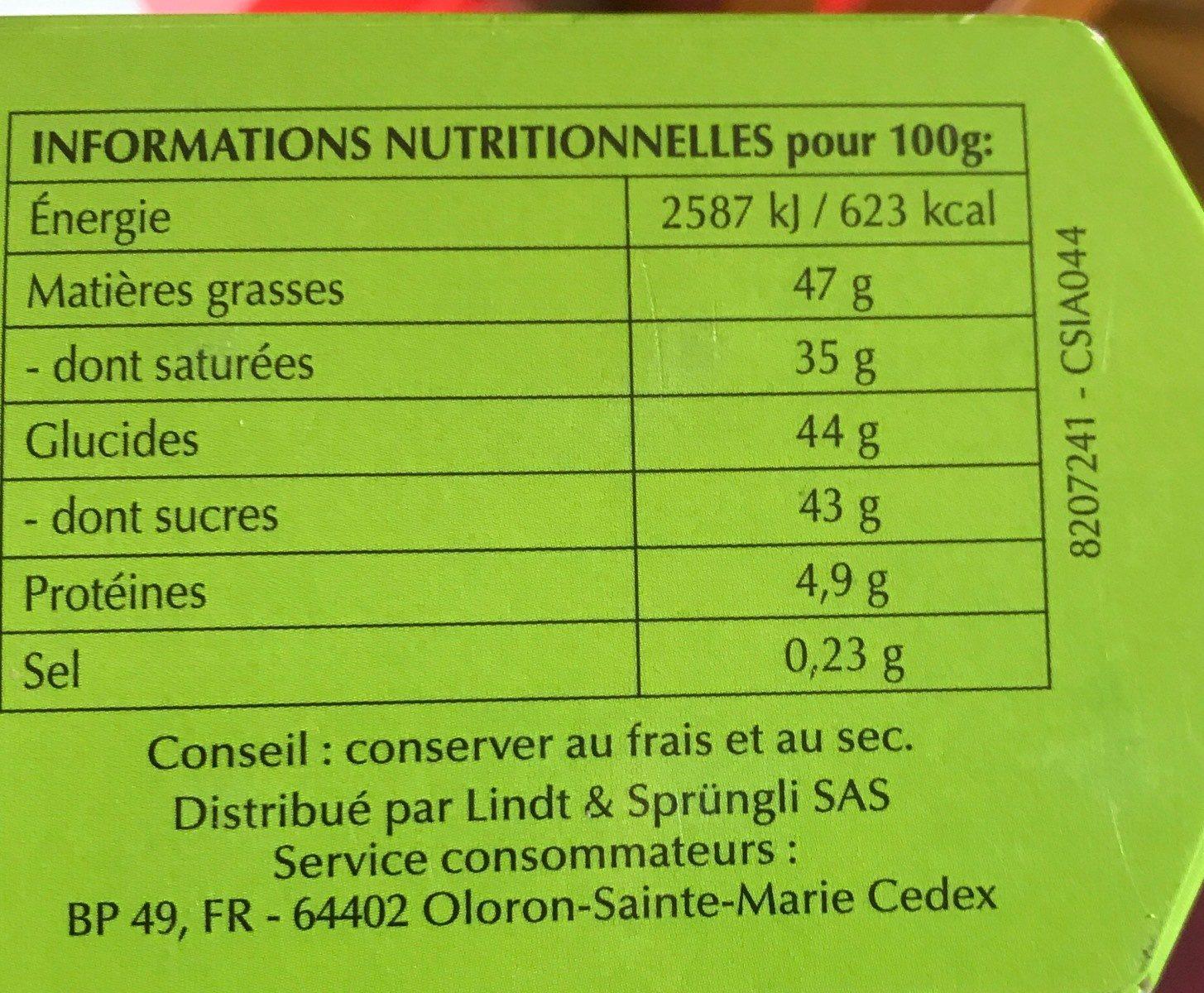 Lindor lait - Informations nutritionnelles