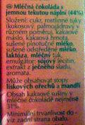 Pralinki z czekolady mlecznej z delikatnie rozpływającym się nadzieniem (44%). - Složení - cs
