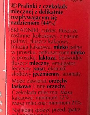 Pralinki z czekolady mlecznej z delikatnie rozpływającym się nadzieniem (44%). - Ingrediënten - pl