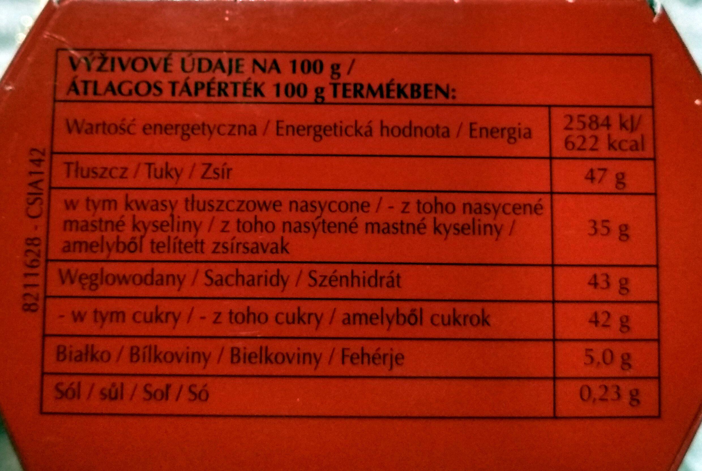 Pralinki z czekolady mlecznej z delikatnie rozpływającym się nadzieniem (44%). - Voedingswaarden - pl