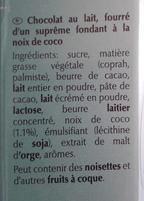 Lindor - Ingredients - fr