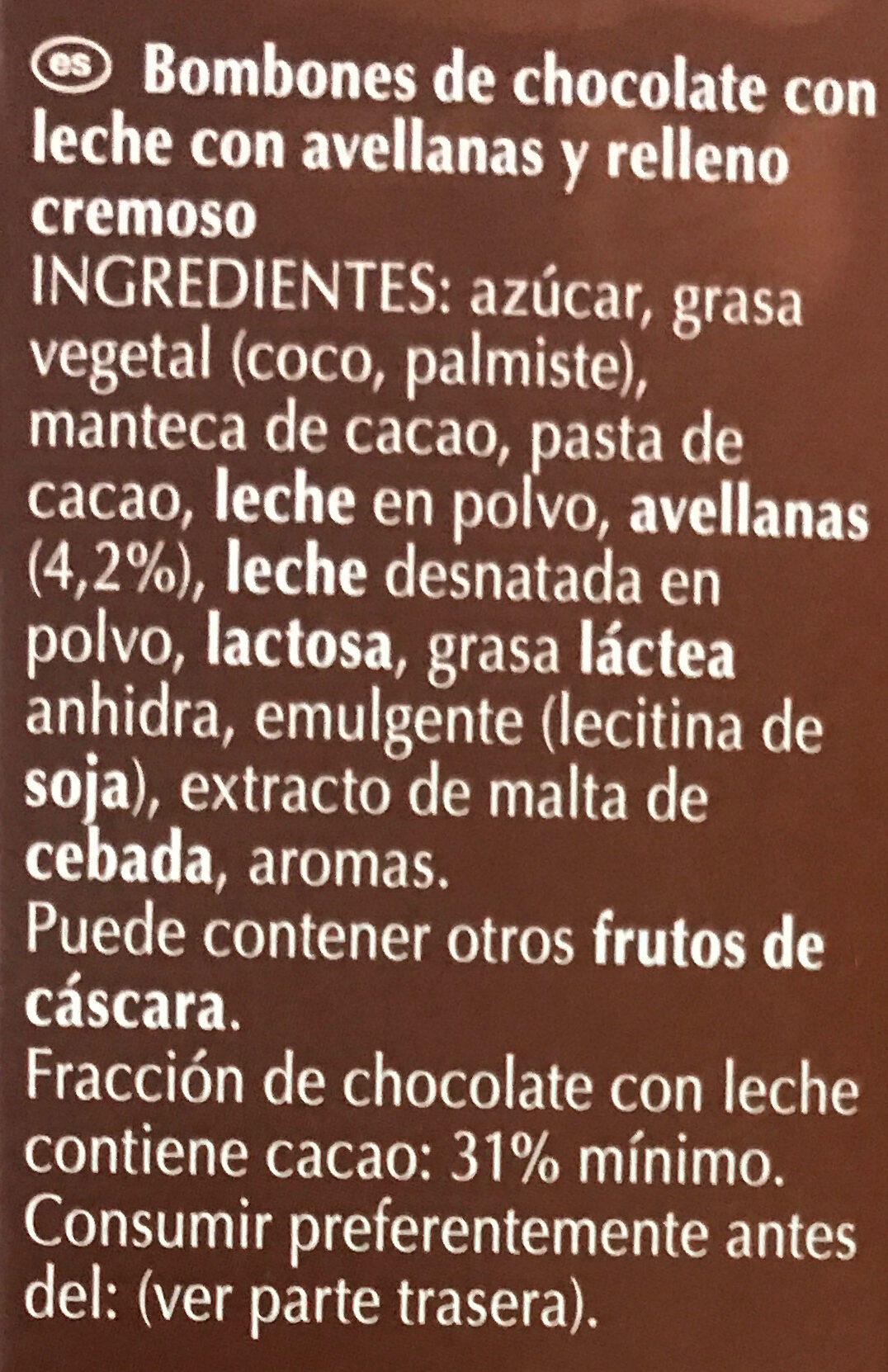 Lindor avellanas - Ingredients