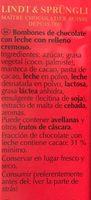 Bombons Lindor Amb Llet Lindt Cornet 500G - Ingredientes