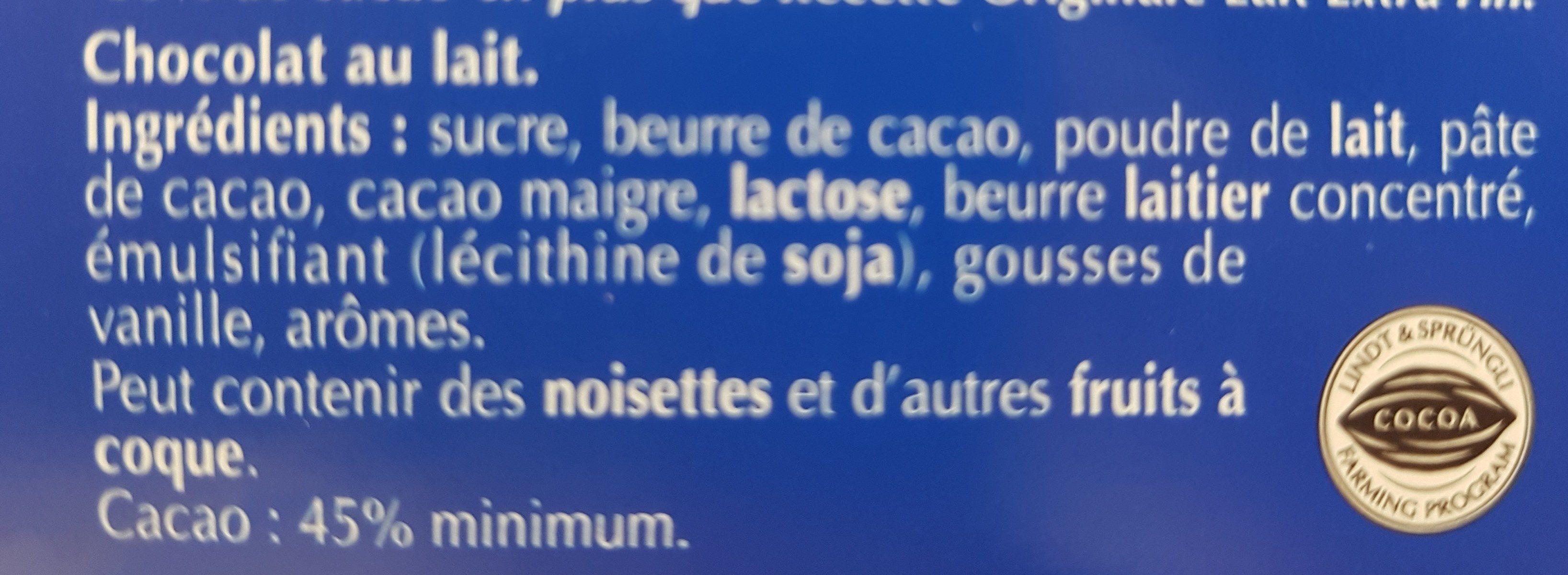 Chocolat au lait intense en cacao - Ingrédients