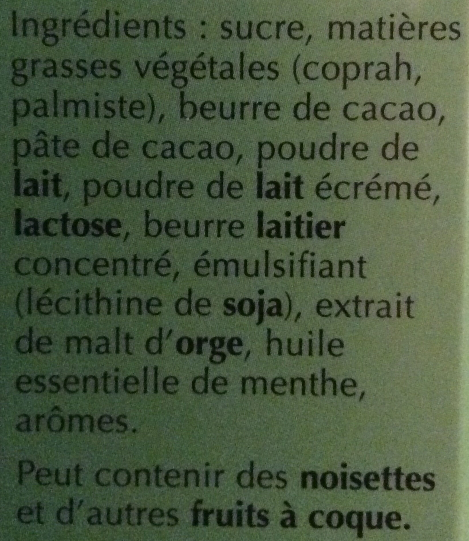 Chocolat Lindt  lindor menthe - Ingredients