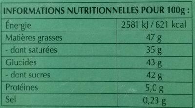 Chocolat Lindt  lindor menthe - Nutrition facts