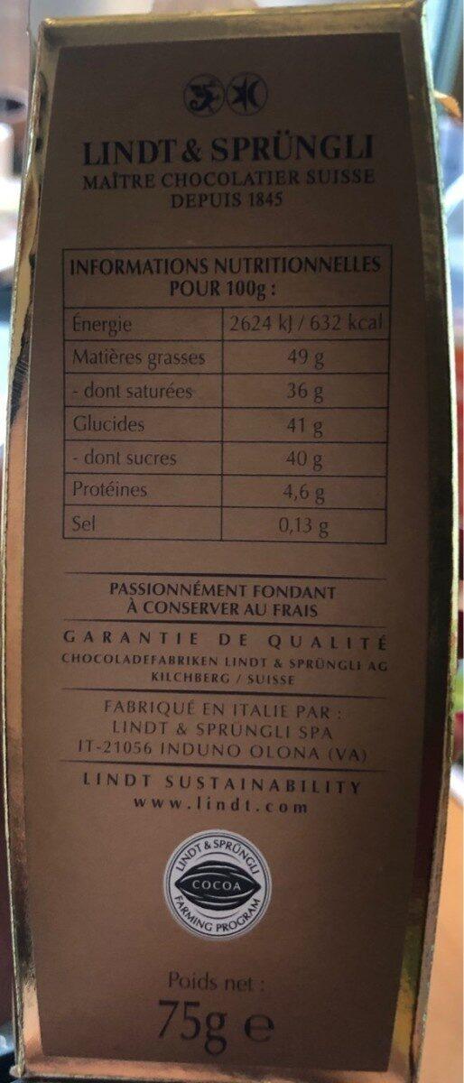 Passionnement Fondant - Nutrition facts - fr