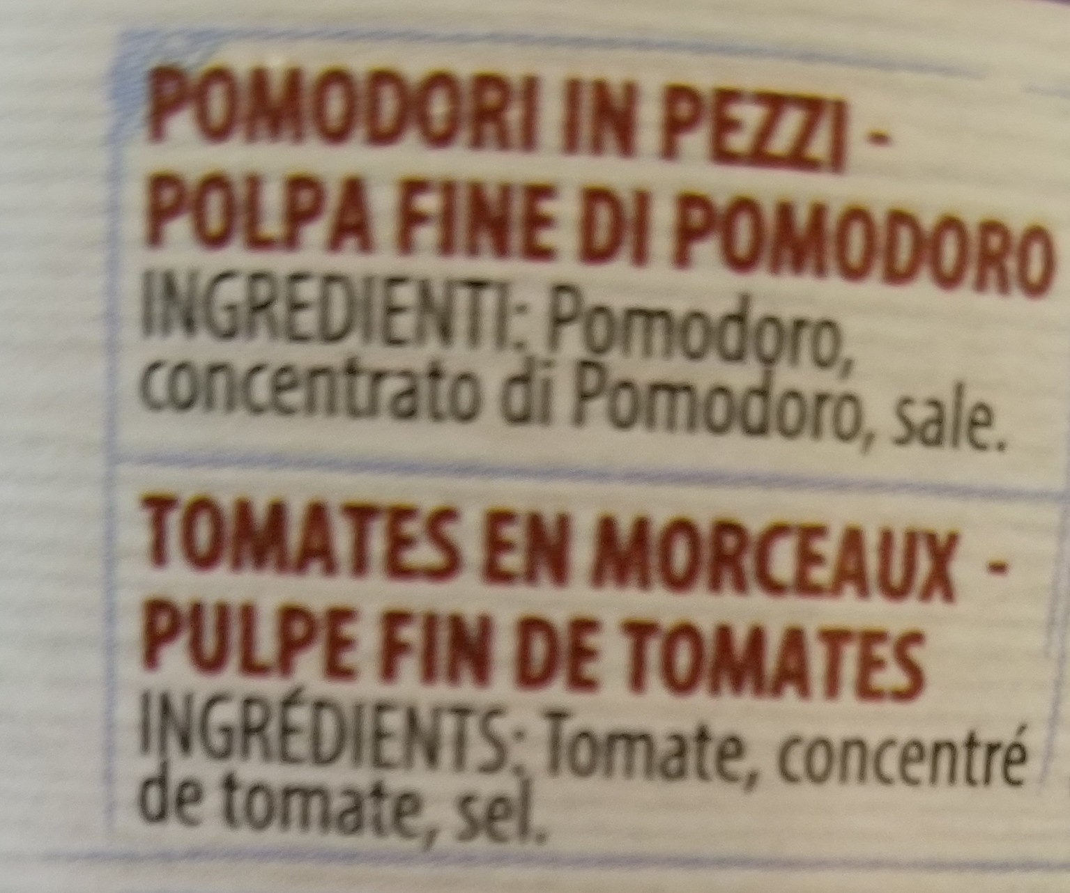 Polpa extrafine - Ingredienti