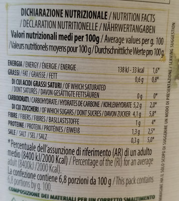 Polpa extrafine - Informazioni nutrizionali