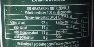 Pantaleo Extra Virgin Olive Oil - Voedingswaarden - fr