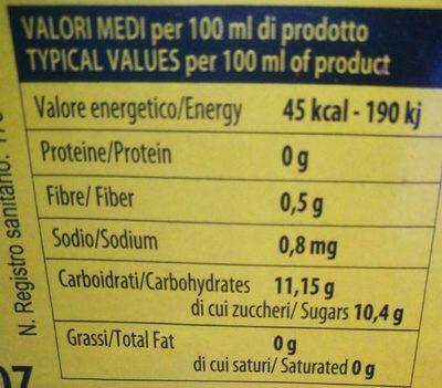 Siesta Lemon - Informazioni nutrizionali