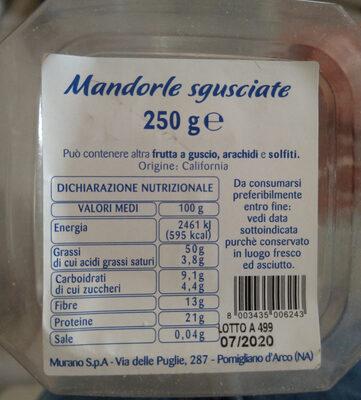 Mandorle california sgusciate - Ingrédients - it