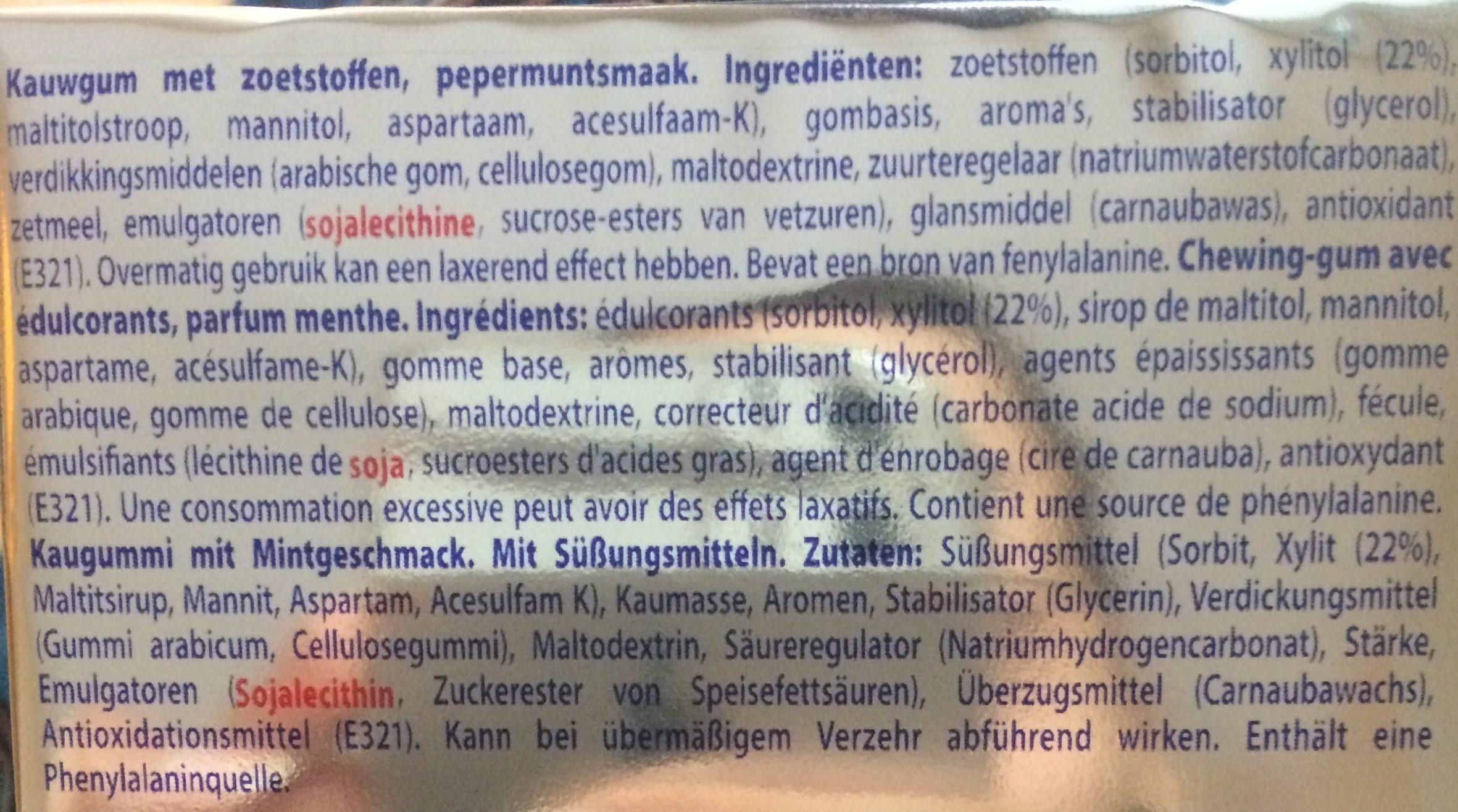 White mentos gum - Ingrediënten