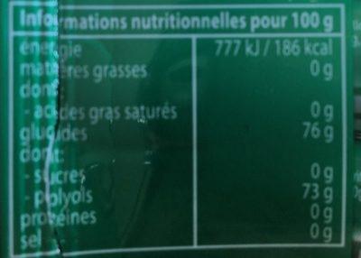Mentos pur fresh chlorophylle - Informations nutritionnelles