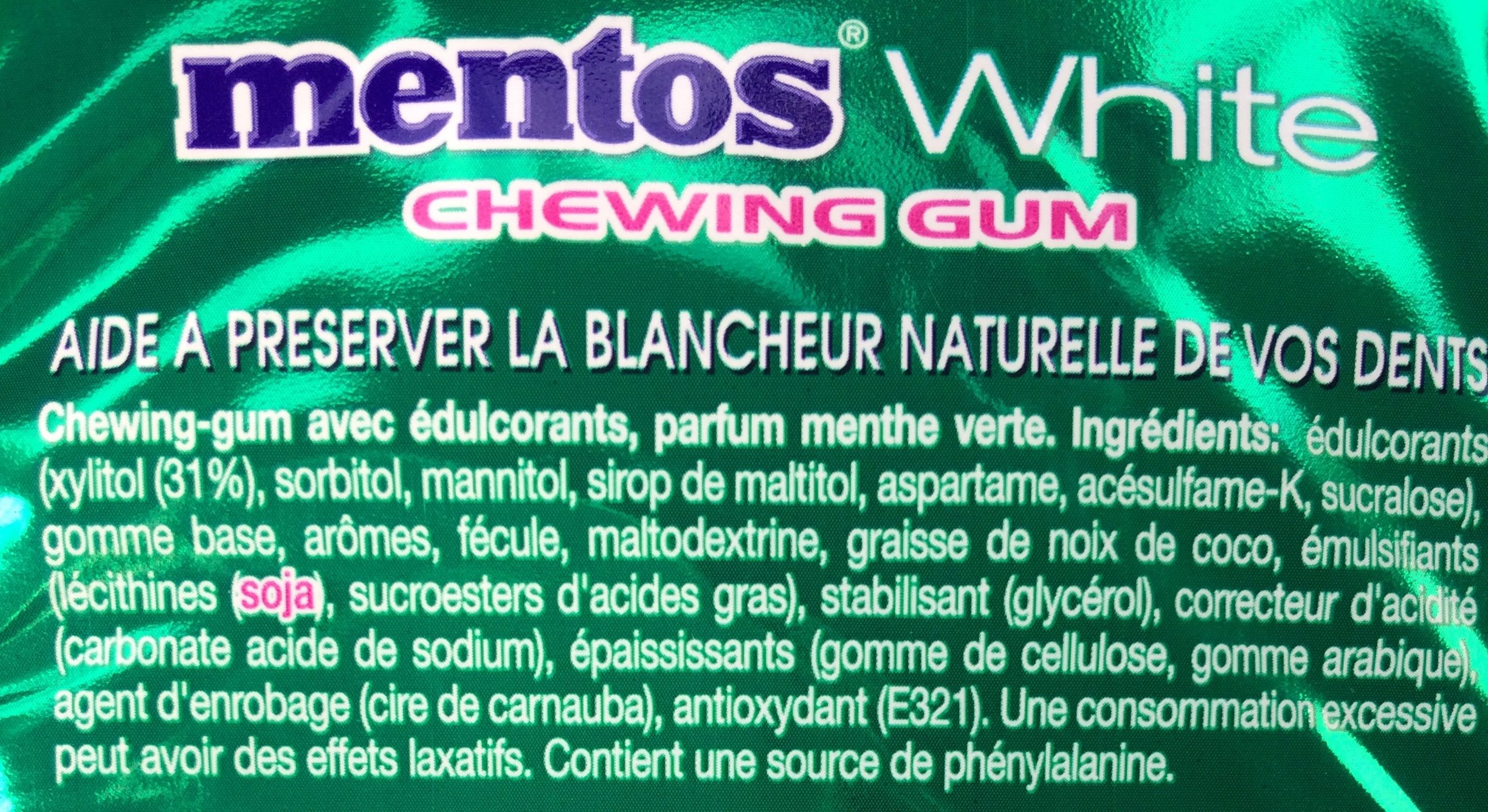 Mentos White Green Mint - Ingrédients
