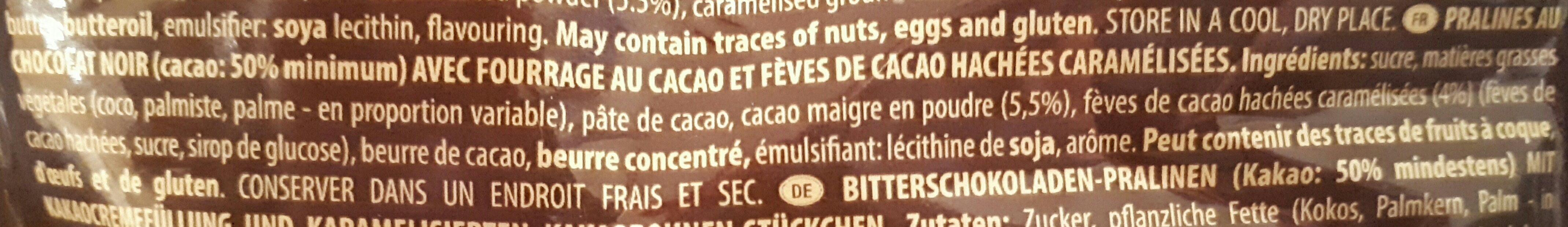 Noi cioccolato fondente con granella di cacao - Ingrédients - fr