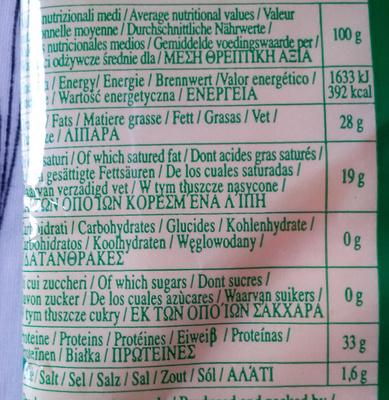 Bio Parmigiano Reggiano - Nutrition facts - de
