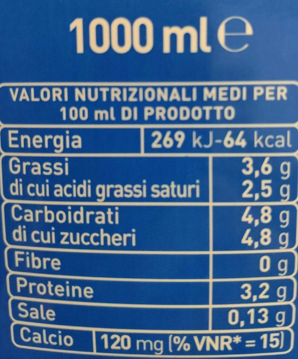 Latte UHT intero - Informations nutritionnelles - fr