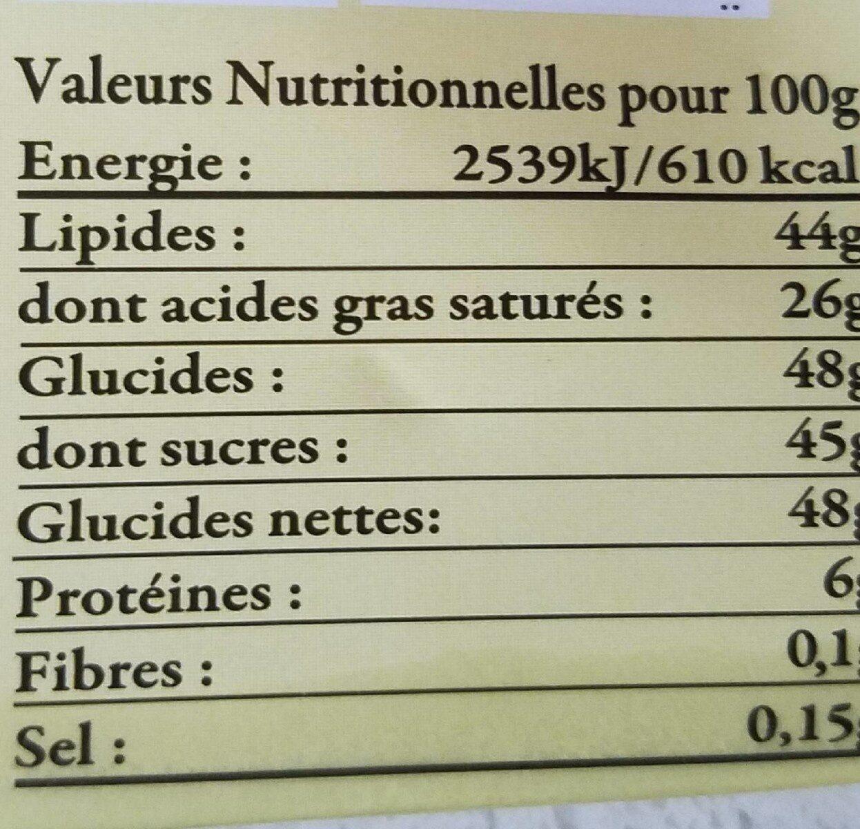 Chocolat blanc caviar de vanille - Informations nutritionnelles - fr