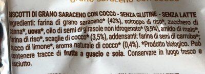 Saraceno Cocco - Ingrédients