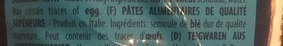Arrighi Penne Rigate - Ingredients
