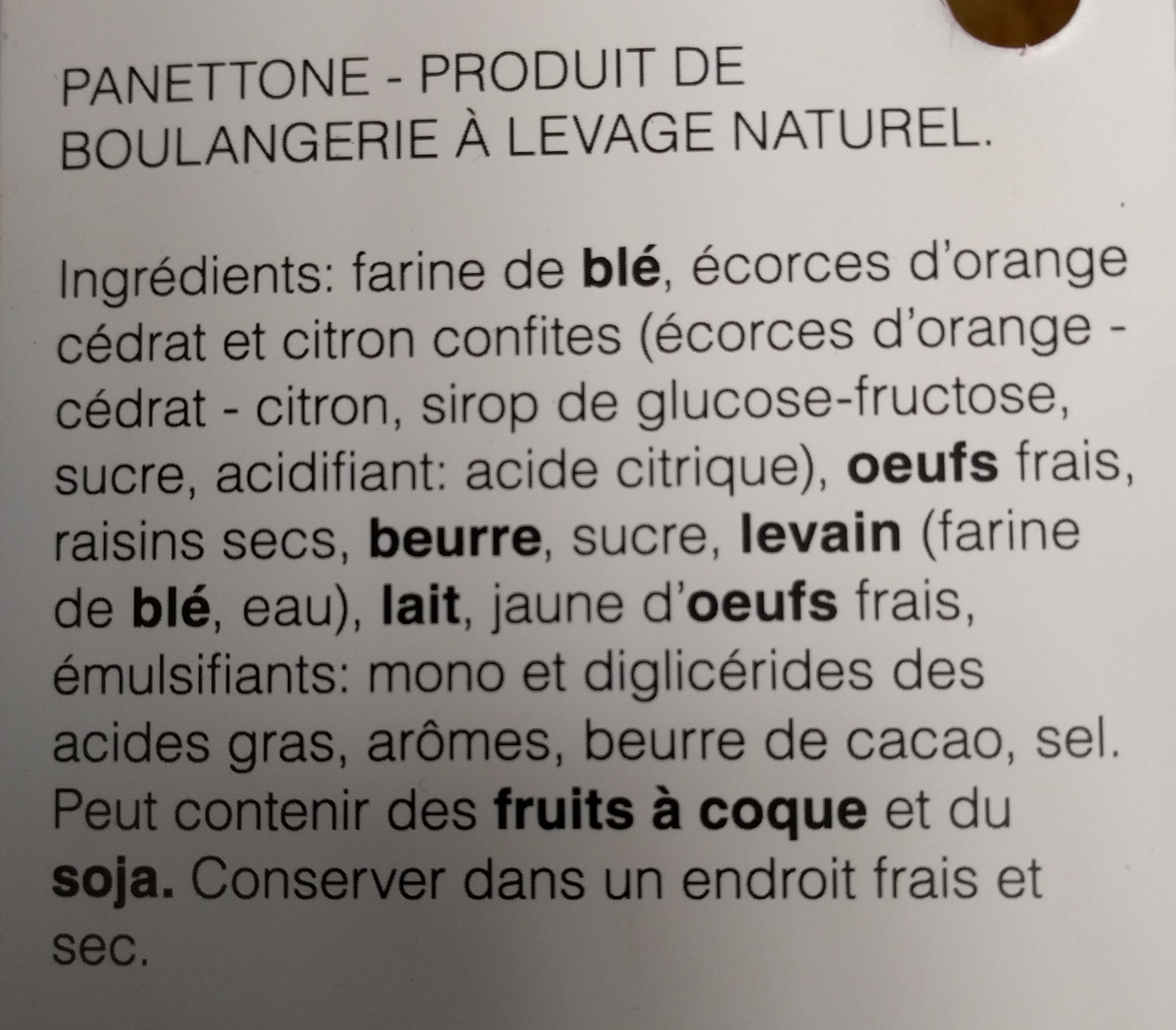 Panettone - Ingredients