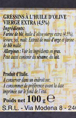 Gressins à l'Huile d'Olive Vierge Extra - Ingrediënten
