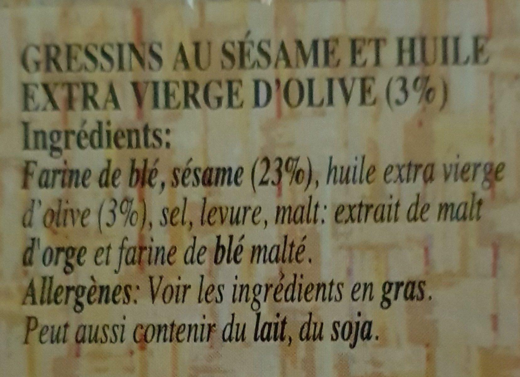 Stick Snack Grissini Sesame - Ingrédients - fr