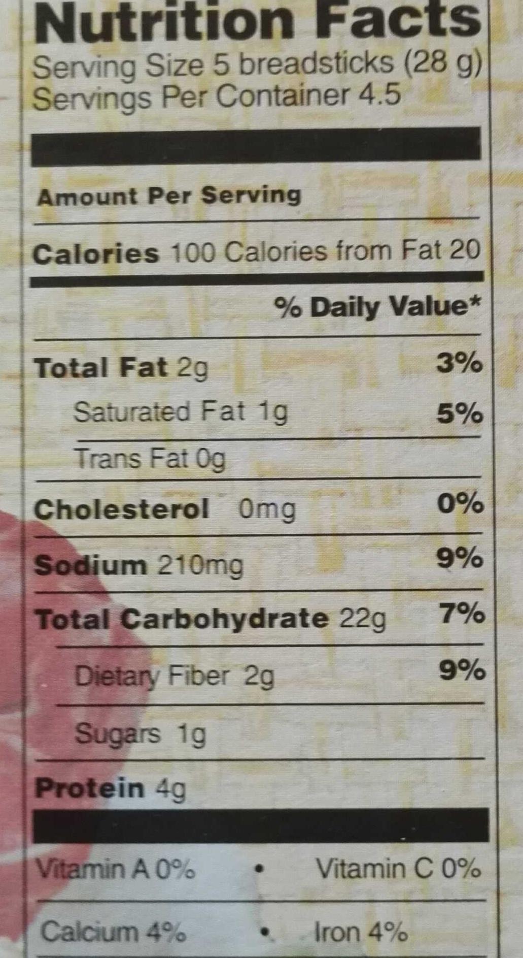 Stick Snack Grissini Sesame - Informations nutritionnelles - fr