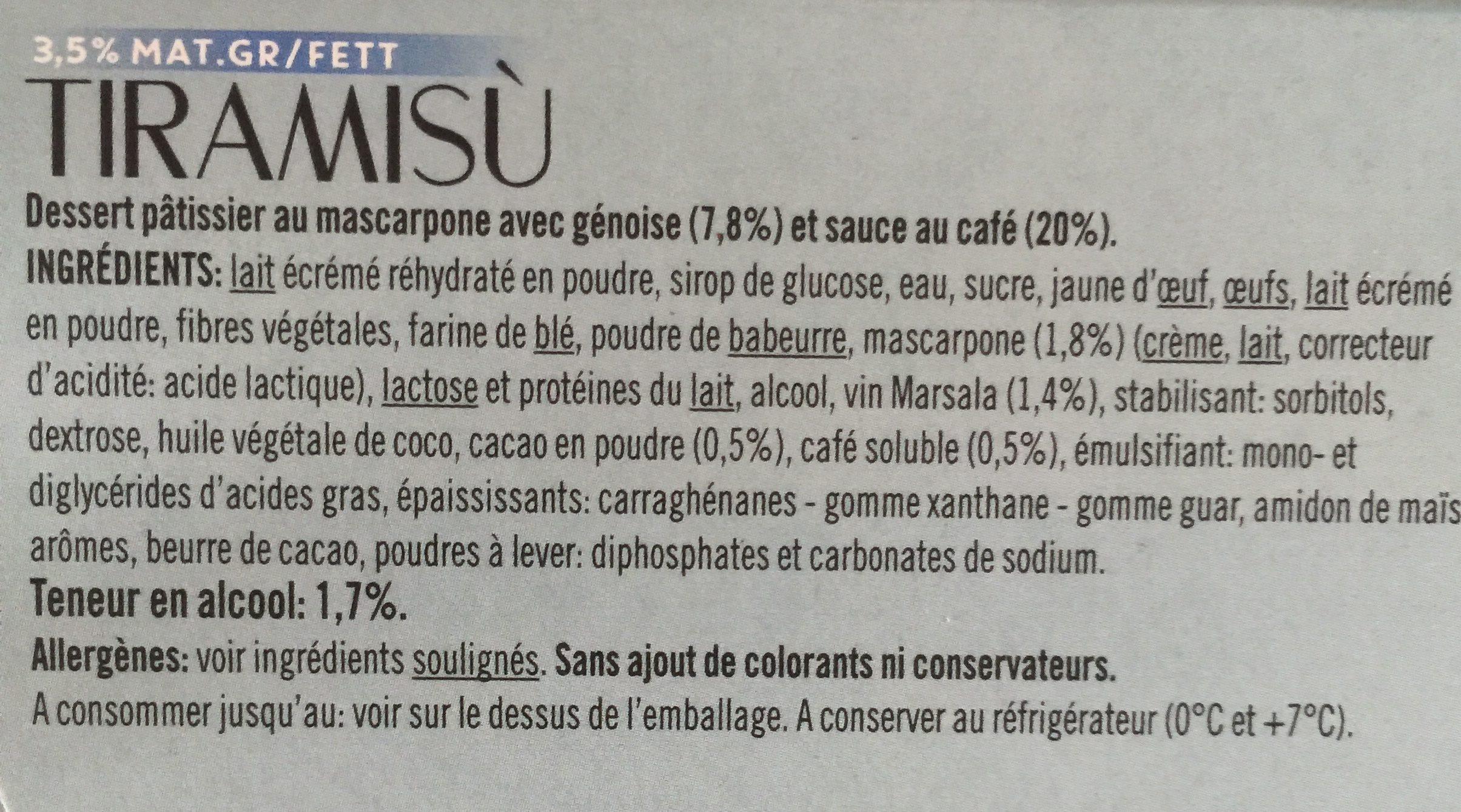 Tiramisù - Inhaltsstoffe - fr