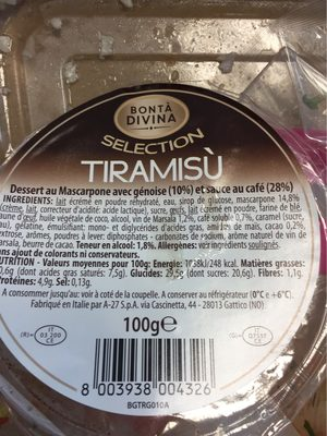 Bonta Divina Selection Tiramisu le pot de 100 g - Product - fr