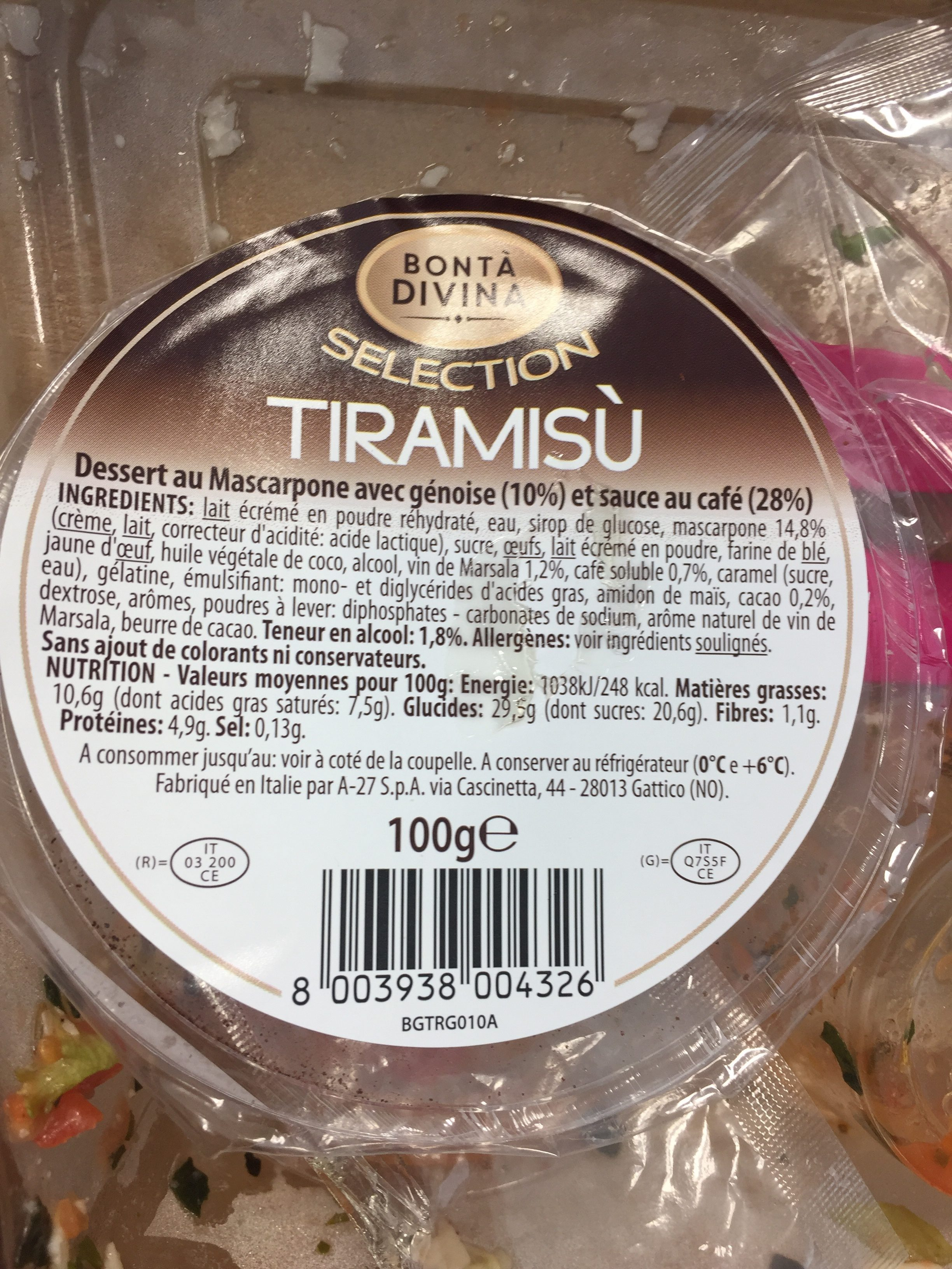 Bonta Divina Selection Tiramisu le pot de 100 g - Ingredients