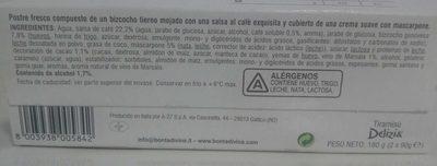 Tiramisu - Ingrediënten - es