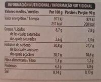 Tiramisu - Voedingswaarden - es