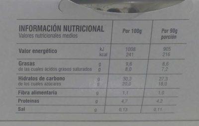 Tiramisú - Nutrition facts - es