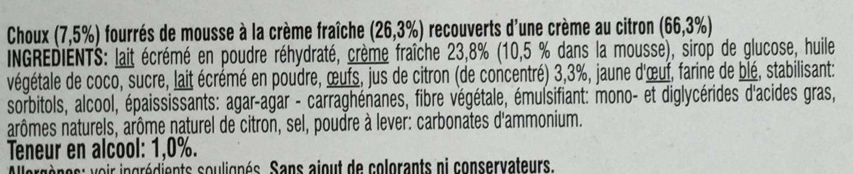 Profiteroles avec une crème parfumée aux citrons d'Italie - Ingredients - fr