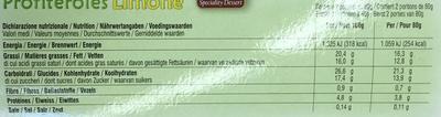 Profiteroles avec une crème parfumée aux citrons d'Italie - Nutrition facts - fr